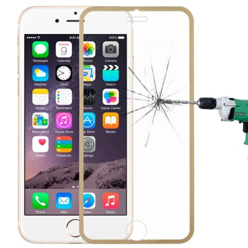 LOPURS 0.3mm Dustproof Explosion-proof Narrow Bezel Colored Full Screen Tempered Glass Screen Protector for iPhone 6 Plus (Light Yellow)