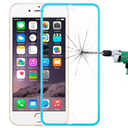 LOPURS 0.3mm Dustproof Explosion-proof Narrow Bezel Colored Full Screen Tempered Glass Screen Protector for iPhone 6 Plus (Blue)