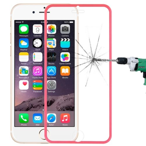 LOPURS 0.3mm Dustproof Explosion-proof Narrow Bezel Colored Full Screen Tempered Glass Screen Protector for iPhone 6 Plus (Rose)
