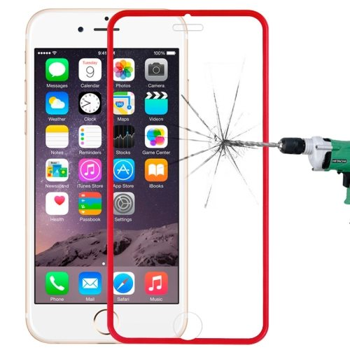 LOPURS 0.3mm Dustproof Explosion-proof Narrow Bezel Colored Full Screen Tempered Glass Screen Protector for iPhone 6 Plus (Red)