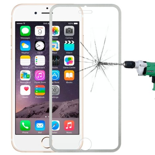 LOPURS 0.3mm Dustproof Explosion-proof Narrow Bezel Colored Full Screen Tempered Glass Screen Protector for iPhone 6 Plus (Gray)