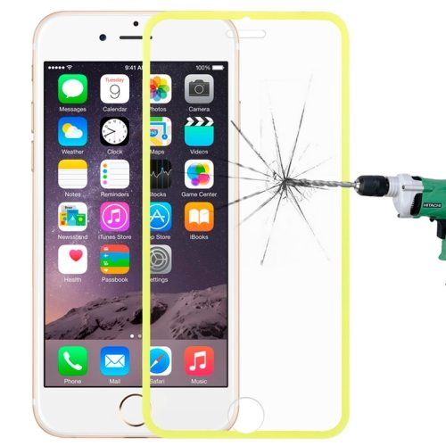 LOPURS 0.3mm Dustproof Explosion-proof Narrow Bezel Colored Full Screen Tempered Glass Screen Protector for iPhone 6 Plus (Yellow)