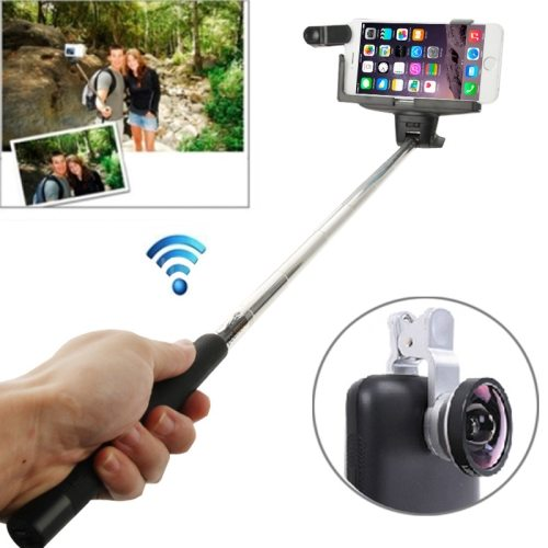 0.4X Camera Len+Smartphone Bluetooth Selfie Monopod for Samsung, for Sony, for Apple iPhone etc. (Black)