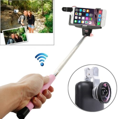 0.4X Camera Len+Smartphone Bluetooth Selfie Monopod for Samsung, for Sony, for Apple iPhone etc. (Pink)