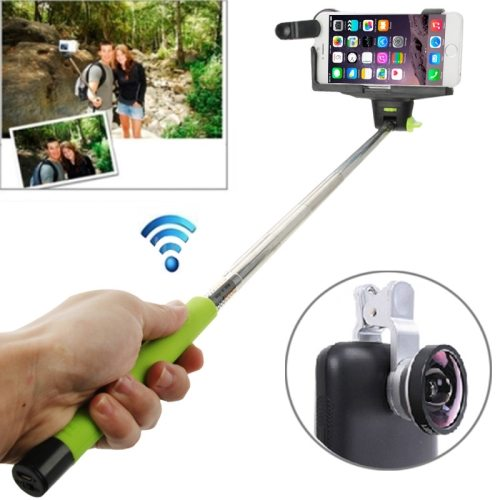 0.4X Camera Len+Smartphone Bluetooth Selfie Monopod for Samsung, for Sony, for Apple iPhone etc. (Green)