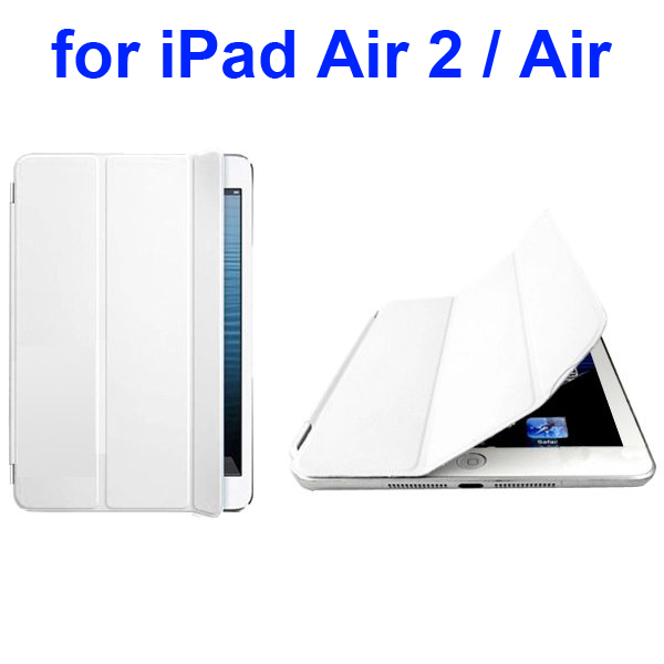 Official Elegant Style Ultrathin Three Folio Folding Smart Leather Case for iPad Air 2 / Air (White)