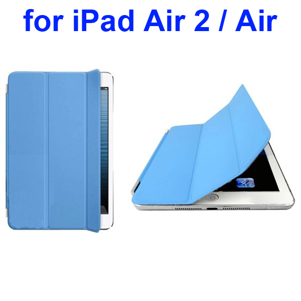 Official Elegant Style Ultrathin Three Folio Folding Smart Leather Case for iPad Air 2 / Air (Blue)