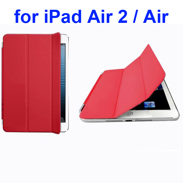 Official Elegant Style Ultrathin Three Folio Folding Smart Leather Case for iPad Air 2 / Air (Red)