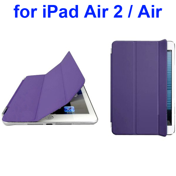 Official Elegant Style Ultrathin Three Folio Folding Smart Leather Case for iPad Air 2 / Air (Purple)
