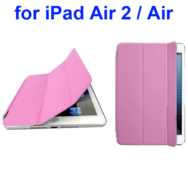 Official Elegant Style Ultrathin Three Folio Folding Smart Leather Case for iPad Air 2 / Air (Pink)