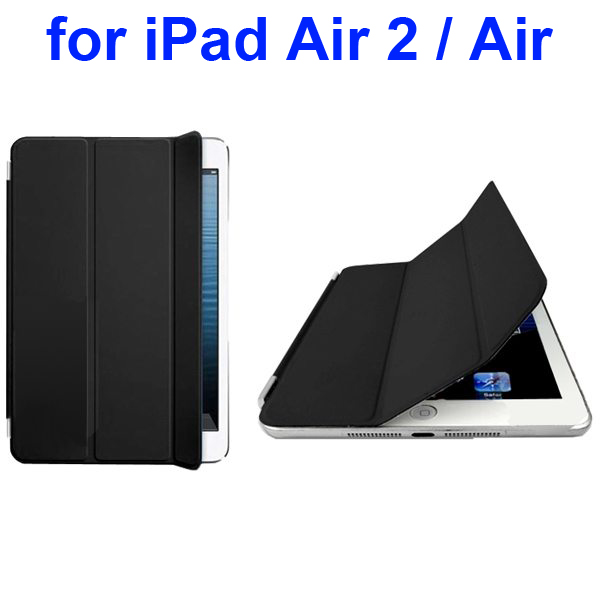 Official Elegant Style Ultrathin Three Folio Folding Smart Leather Case for iPad Air 2 / Air (Black)