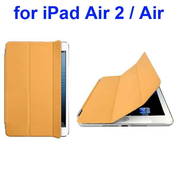 Official Elegant Style Ultrathin Three Folio Folding Smart Leather Case for iPad Air 2 / Air (Yellow)
