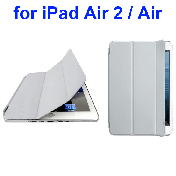 Official Elegant Style Ultrathin Three Folio Folding Smart Leather Case for iPad Air 2 / Air (Gray)