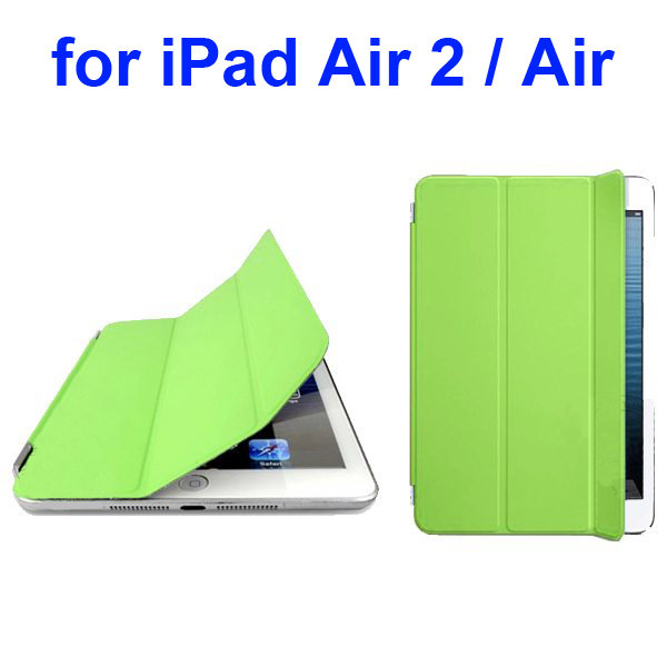 Official Elegant Style Ultrathin Three Folio Folding Smart Leather Case for iPad Air 2 / Air (Green)