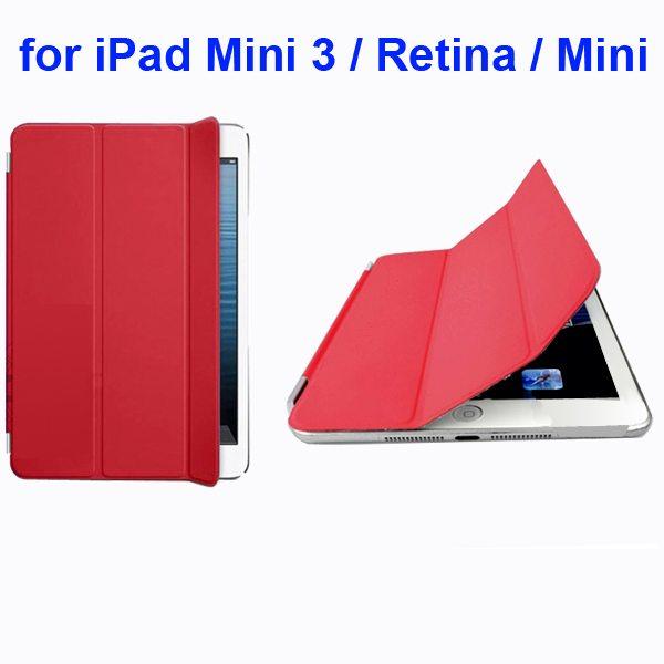 Offcial Style Ultrathin Three Folding Leather Smart Cover for iPad Mini 3 / Retina / Mini (Red)