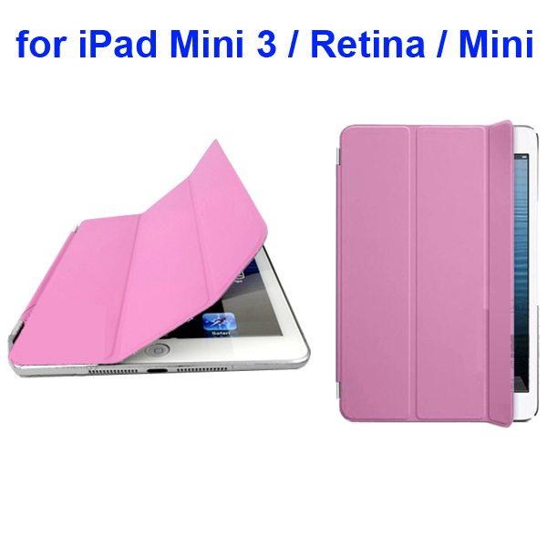 Offcial Style Ultrathin Three Folding Leather Smart Cover for iPad Mini 3 / Retina / Mini (Pink)