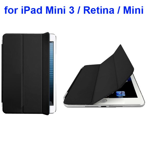 Offcial Style Ultrathin Three Folding Leather Smart Cover for iPad Mini 3 / Retina / Mini (Black)