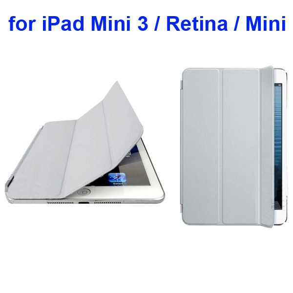 Offcial Style Ultrathin Three Folding Leather Smart Cover for iPad Mini 3 / Retina / Mini (Gray)