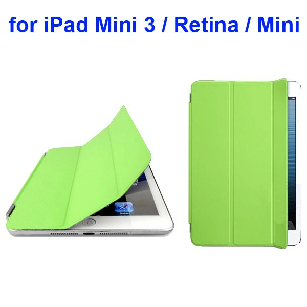 Offcial Style Ultrathin Three Folding Leather Smart Cover for iPad Mini 3 / Retina / Mini (Green)
