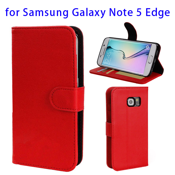 2015 Newest Flip Leather Case for Samsung Galaxy Note 5 Edge with Card Slots and Photo Slot (Red)