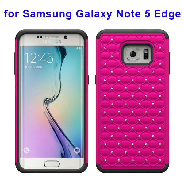 Bling Bling Diamond PC and Silicone Rugged Protective Case for Samsung Galaxy Note 5 Edge (Rose)