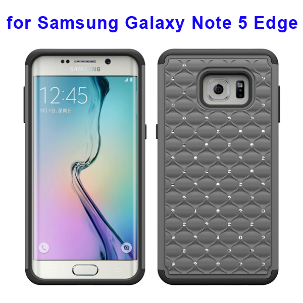 Bling Bling Diamond PC and Silicone Rugged Protective Case for Samsung Galaxy Note 5 Edge (Grey)