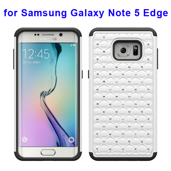 Bling Bling Diamond PC and Silicone Rugged Protective Case for Samsung Galaxy Note 5 Edge (White)