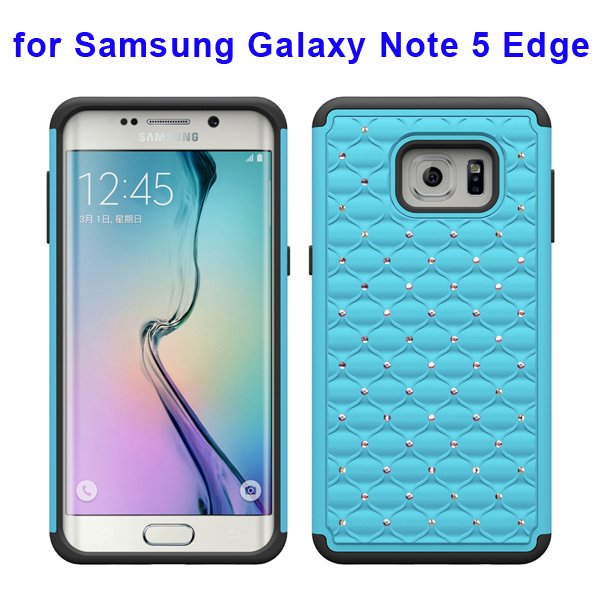 Bling Bling Diamond PC and Silicone Rugged Protective Case for Samsung Galaxy Note 5 Edge (Baby Blue)