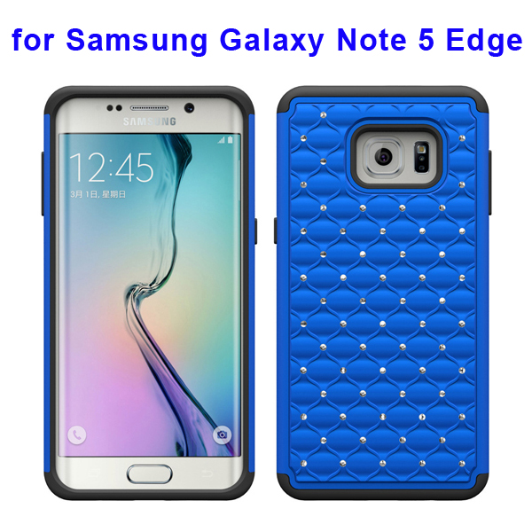 Bling Bling Diamond PC and Silicone Rugged Protective Case for Samsung Galaxy Note 5 Edge (Dark Blue)