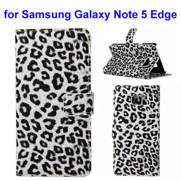 Leopard Texture Wallet Style Leather Flip Cover for Samsung Galaxy Note 5 Edge (White)