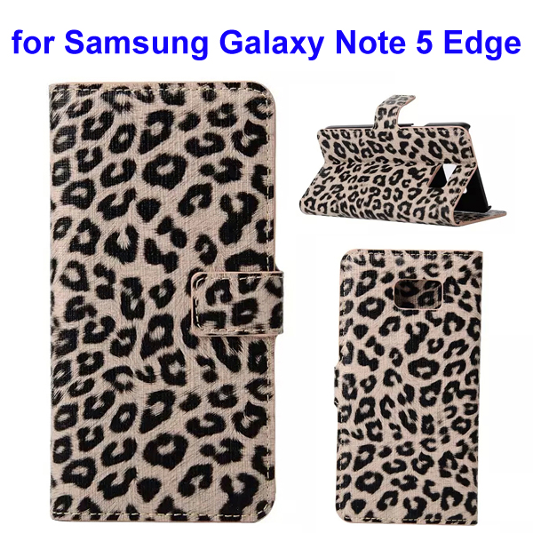 Leopard Texture Wallet Style Leather Flip Cover for Samsung Galaxy Note 5 Edge Gold)