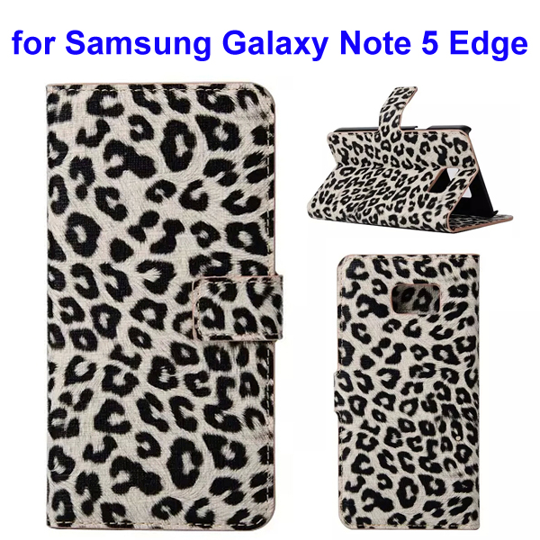 Leopard Texture Wallet Style Leather Flip Cover for Samsung Galaxy Note 5 Edge (Beige)