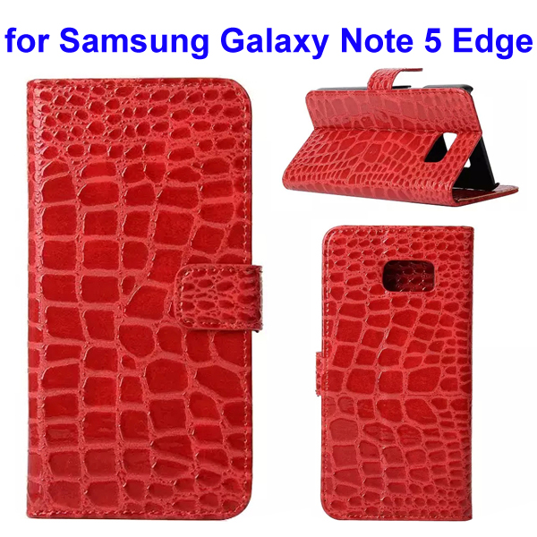 Crocodile Texture Mobile Phone Flip Leather Case for Samsung Galaxy Note 5 Edge (Red)