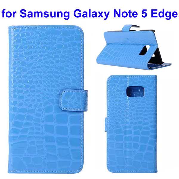 Crocodile Texture Mobile Phone Flip Leather Case for Samsung Galaxy Note 5 Edge (Blue)