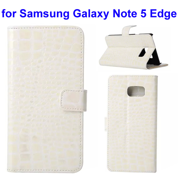 Crocodile Texture Mobile Phone Flip Leather Case for Samsung Galaxy Note 5 Edge (White)