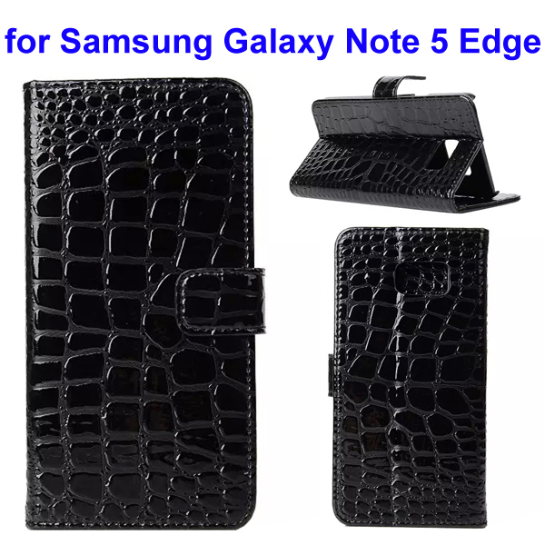 Crocodile Texture Mobile Phone Flip Leather Case for Samsung Galaxy Note 5 Edge (Black)