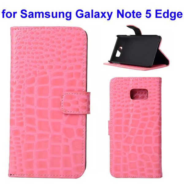 Crocodile Texture Mobile Phone Flip Leather Case for Samsung Galaxy Note 5 Edge (Pink)
