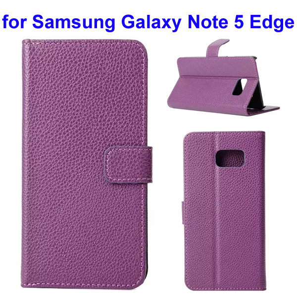 Litchi Texture Mobile Phone Flip Leather Cellphone Case for Samsung Galaxy Note 5 Edge (Purple)