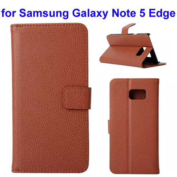 Litchi Texture Mobile Phone Flip Leather Cellphone Case for Samsung Galaxy Note 5 Edge (Brown)