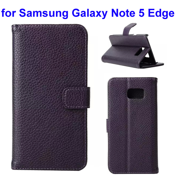 Litchi Texture Mobile Phone Flip Leather Cellphone Case for Samsung Galaxy Note 5 Edge (Dark Purple)