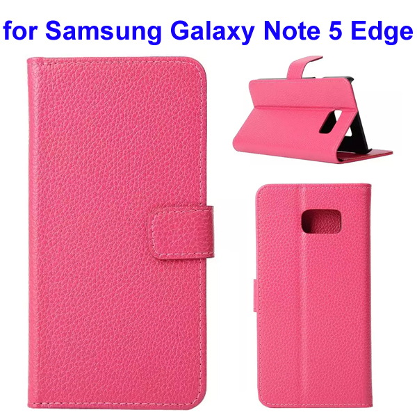 Litchi Texture Mobile Phone Flip Leather Cellphone Case for Samsung Galaxy Note 5 Edge (Rose)