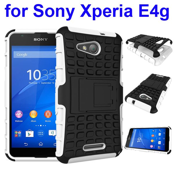 2 In 1 Pattern Silicone and PC Rugged Hybrid Case for Sony Xperia E4g with Kickstand (White)