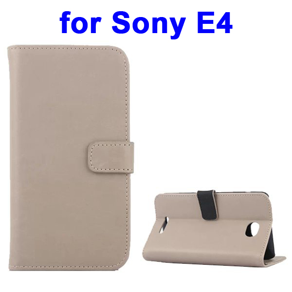 Retro Style Smooth Texture Wallet Leather Flip Cover for Sony Xperia E4 (Beige)