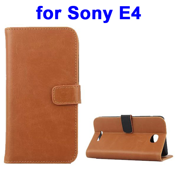 Retro Style Smooth Texture Wallet Leather Flip Cover for Sony Xperia E4 (Brown)