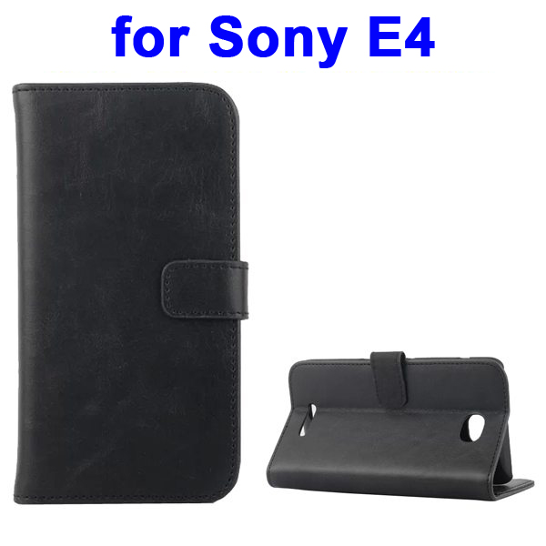 Retro Style Smooth Texture Wallet Leather Flip Cover for Sony Xperia E4 (Black)