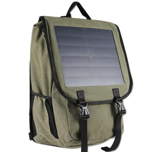 Fashion Portable Business Solar Charger Backpack Knapsack with 10W Solar Panel and Standard USB Data Cable (Army Green)