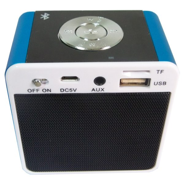 Portable Mini Bluetooth Speaker for Mobile Phones, Laptop, etc Support TF Card, Hands Free Call, FM Radio (Blue+Black)