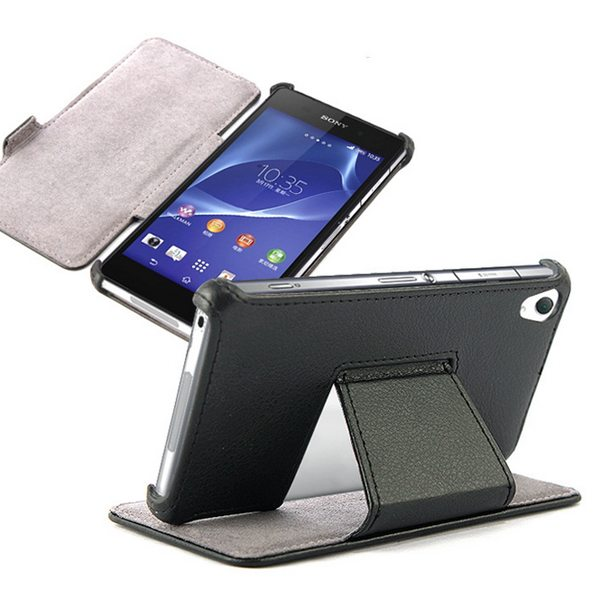 Unique Design Horizontal Flip Thermoforming Leather Case for Sony Xperia Z4 with Stand