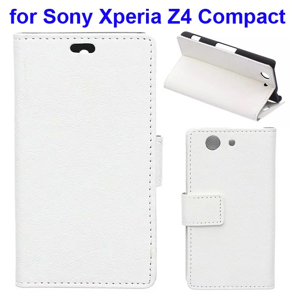Karst Texture Flip Genuine Leather Wallet Case for Sony Xperia Z4 Compact with Card Slots (White)