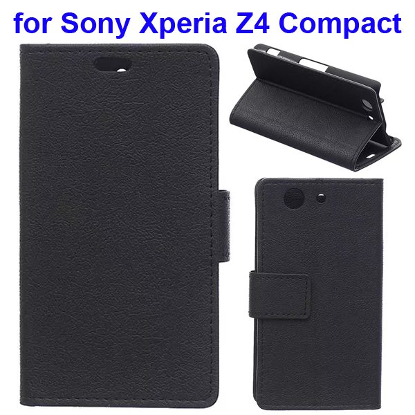 Karst Texture Flip Genuine Leather Wallet Case for Sony Xperia Z4 Compact with Card Slots (Black)